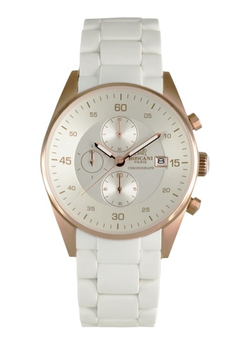 Roscani white Roscani Noelle 972 (Chronograph + WR 10ATM) Rose Gold White Silicone Men Watch 02B25AC702A628GS_1