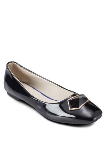 Crisesprit 尖沙咀tina 五邊形扣環平底鞋, 女鞋, 鞋