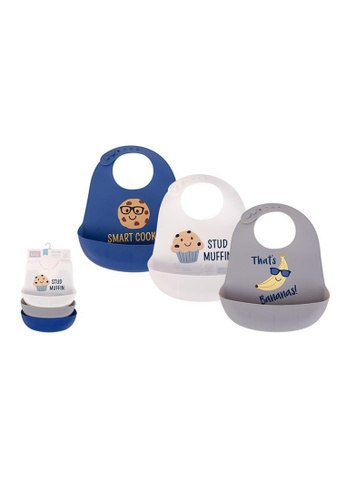 Little Kooma grey and white and blue Baby Silicone Bibs 3 Piece Pack 56278 - 1221 2E2BCKCA64D150GS_1