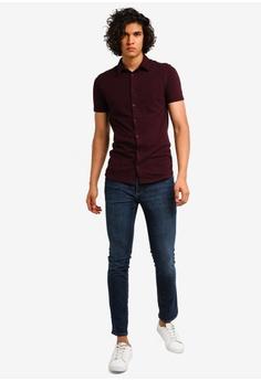 1837122aece 9% OFF River Island Muscle Button Thru Pique Shirt S  31.90 NOW S  28.90  Sizes XS S M L XL