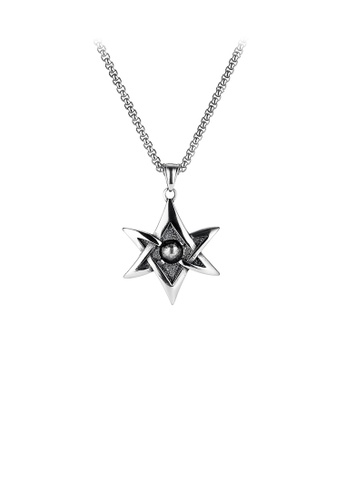 Glamorousky silver Simple Personality Six-pointed Star 316L Stainless Steel Pendant with Necklace F405EAC61E9E2BGS_1