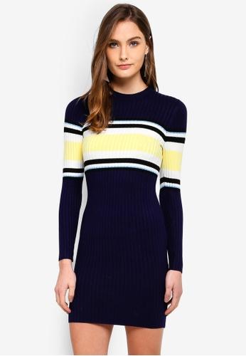 Miss Selfridge navy Block Stripe Dress D5F22AA3386A84GS_1