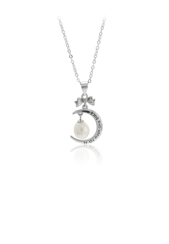 Glamorousky white 925 Sterling Silver Simple Fashion Moon White Freshwater Pearl Pendant with Necklace 056A1ACB9EEB52GS_1