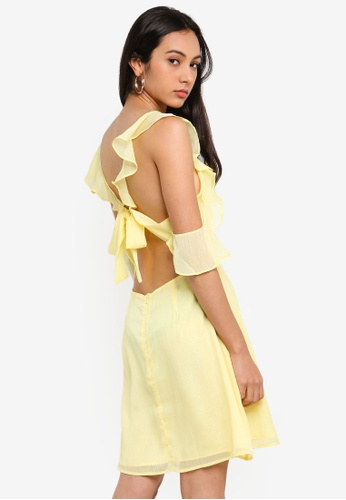 Glamorous yellow Ruffle Mini Dress 6DFF7AA1CD7615GS_1