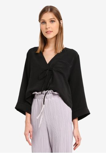 TOPSHOP black Tie Wrap Blouse TO412AA0SRRMMY_1