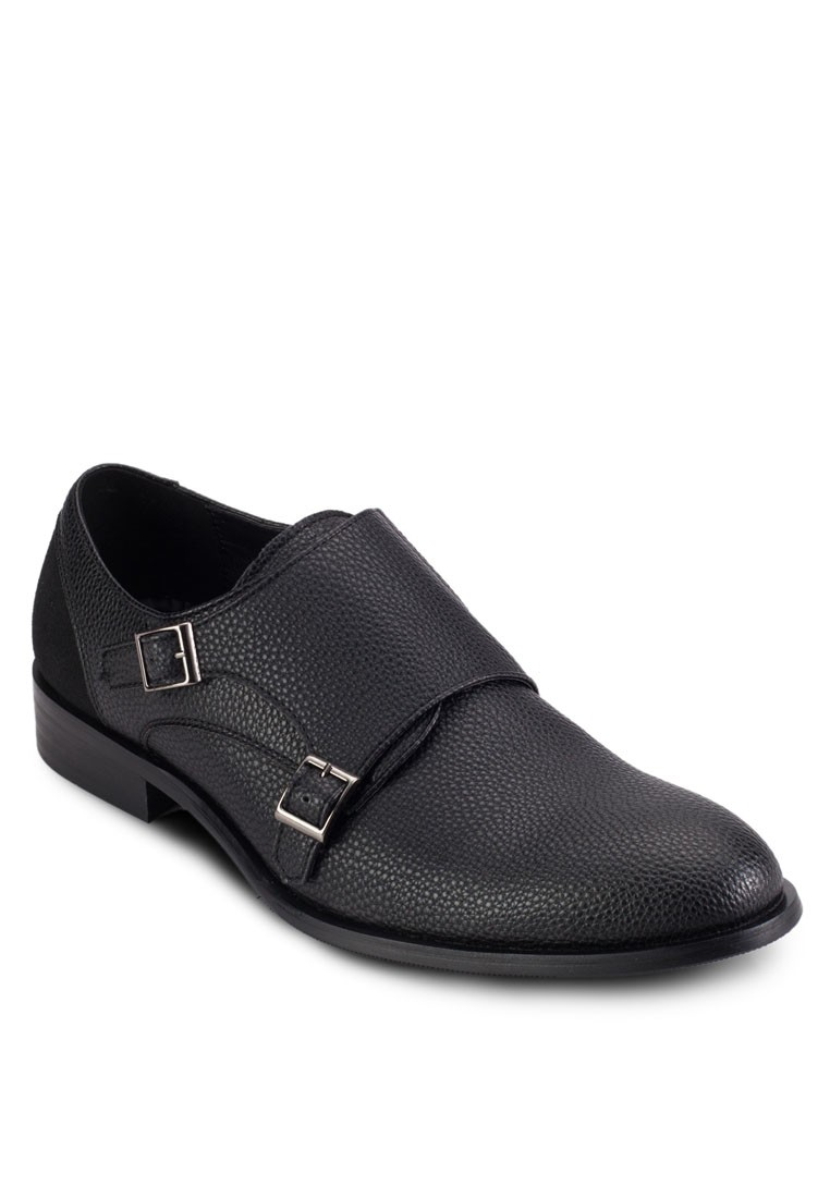 Pebbled Dress Shoes With Double Buckle