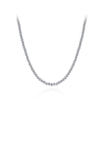 Glamorousky silver Simple and Fashion Geometric Round Bead Necklace 9649EACE4C1036GS_1