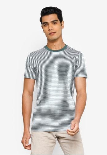 !Solid green Stripe T-Shirt D1DFFAA6B25661GS_1