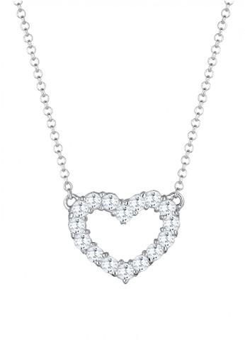 Elli Germany white Perhiasan Wanita Perak Asli - Silver Kalung Heart Zirconia Crystals EL948AC55UNOID_1