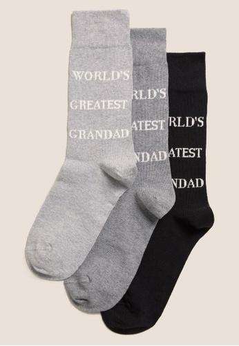 MARKS & SPENCER black M&S 3Pk Greatest Grandad Sock Gift Box A6C10AA9E4D05DGS_1