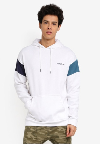 Cotton On white and blue Drop Shoulder Pullover Fleece Jumper Hoodie BE30EAAA2D169BGS_1