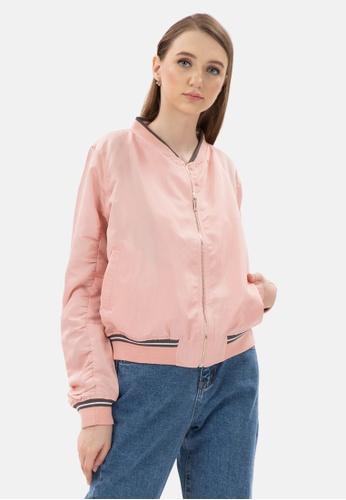 MKY Clothing pink MKY Grey Line Rib Bomber Jacket 8A758AAFF8AFACGS_1