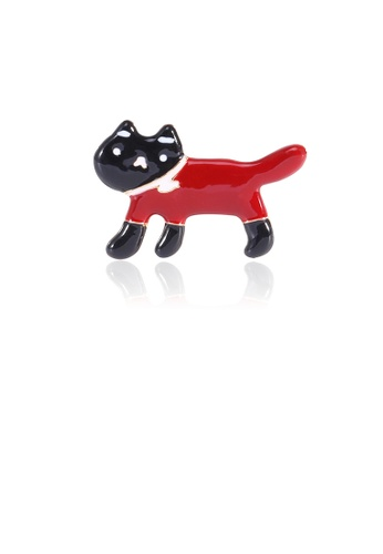 Glamorousky silver Simple and Cute Red Cat Brooch 9C59EAC487B773GS_1