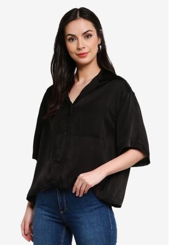 H&M black Voluminous Resort Shirt 23DEAAAED6A0CEGS_1