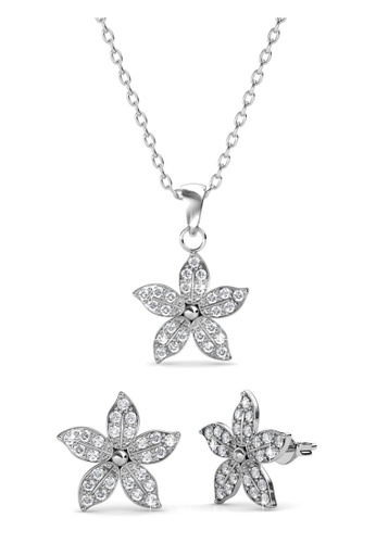 Her Jewellery silver Swarovski® Crystals - Bloom Set (18K White Gold Plated) Her Jewellery HE581AC0R9U8MY_1
