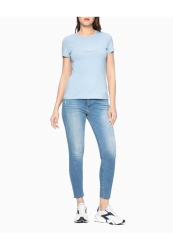 Calvin Klein blue Calvin Klein Crystal Logo Slim Tee 52A9CAAE50A7F7GS_1