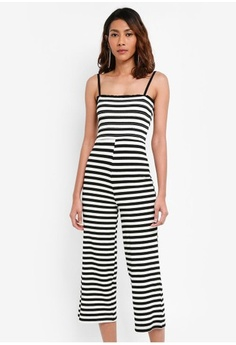 60be006c8aaa TOPSHOP. Shirred Striped Jumpsuit