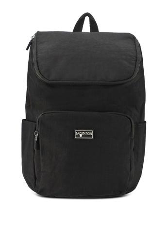Bagstationz black Crinkled Nylon Backpack CCF44AC50C6101GS_1