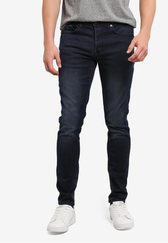 Burton Menswear London navy Ink Wash Ethan Super Skinny Jeans BU964AA0S5MHMY_1