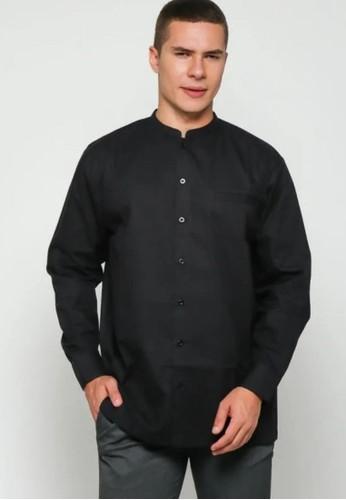 9 to 12 black Overtime Chest Pocket Mandarin Collar E8699AA6F0502CGS_1