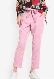 Dorothy Perkins pink Pink Stripe Tapered Trousers DO816AA26PMZMY_1