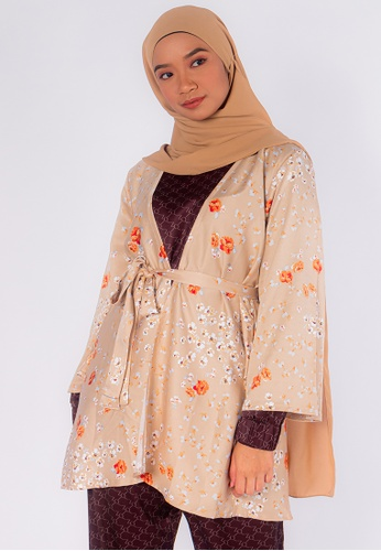Zaryluq orange and brown Bloom Kimono in Tiger Lily 2C066AAC910255GS_1