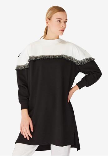 Trendyol black 2-Tone Fringe Sweatshirt 4AE96AAB8FF3E7GS_1
