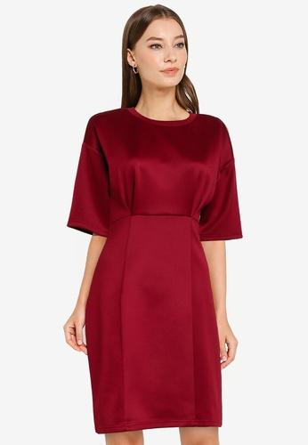 ZALORA WORK red Drop Shoulder Bodycon Dress 8165CAA396E3EDGS_1