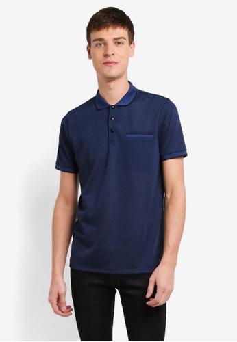Burton Menswear London blue Blue Feeder Stripe Popper Polo Shirt BU964AA0SD2LMY_1