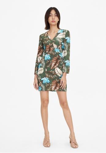 Pomelo green Mini Tropical Print V Neck Dress - Green EABB0AABDB7DB1GS_1