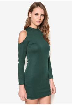 Basic Cold Shoulder Bodycon Dress