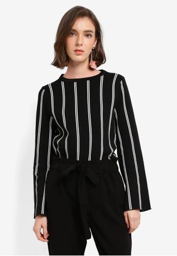 Mango black Stripe Pattern Sweater A93F7AA3F1E2D9GS_1