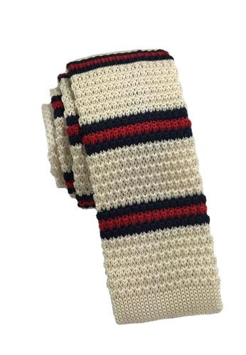 Splice Cufflinks Purl Series Red & Navy Blue Stripes Beige Knitted Tie SP744AC60KUHSG_1