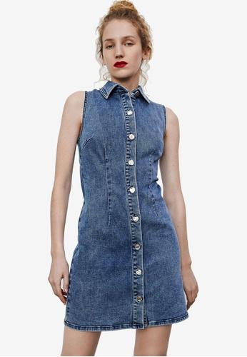 URBAN REVIVO blue Sleeveless Denim Dress 265B6AA3A30928GS_1