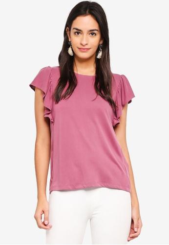 Vero Moda pink Jenny Frill Top 26D40AA0CAB8D7GS_1