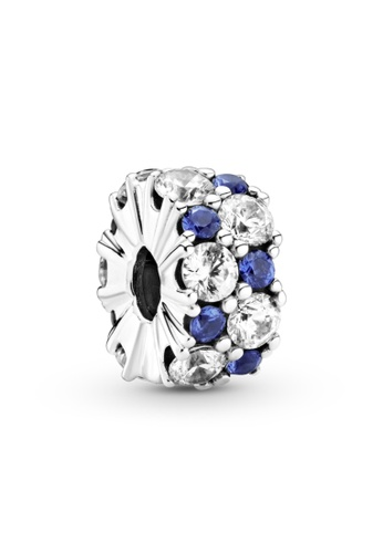 Pandora silver Pandora Clear & Blue Sparkling Clip Charm B7584AC1D7E928GS_1