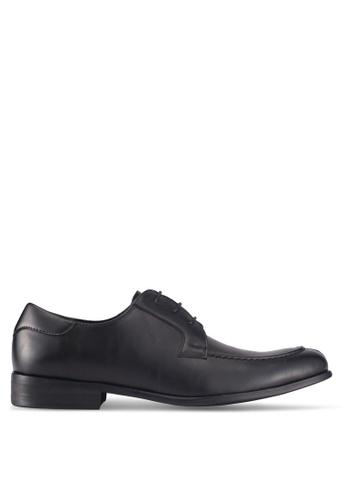 ZALORA black Faux Leather Lace Up Dress Shoes 4220ASH84B9A1AGS_1