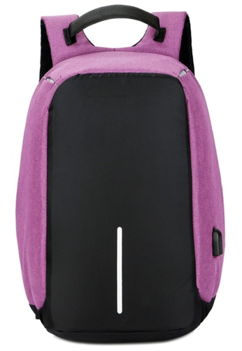 Jackbox black and purple Anti Theft Business Laptop Backpack with USB Charging Port 528 (Purple) JA762AC0S97CMY_1