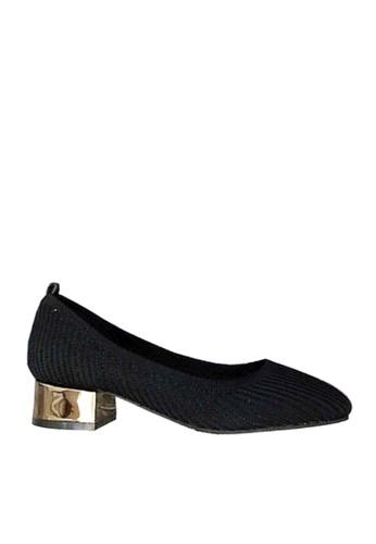 Twenty Eight Shoes 黑色 流行的針織布矮跟鞋  VL6581 D3EE5SH282AD72GS_1
