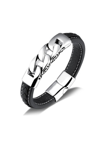 ADORA silver Stainless Steel Leather Bracelet 27E65AC2420647GS_1