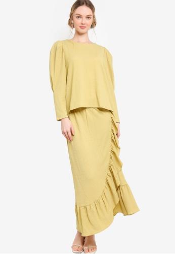 Lubna 綠色 Puff Sleeve Top With Drape Skirt Set F7723AA9E34219GS_1