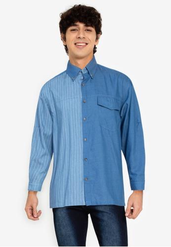 ZALORA BASICS blue Stripe Panel Shirt 3DF6EAADF5A2F0GS_1