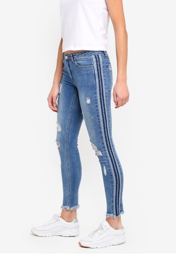 Brave Soul blue Skinny Jeans With Tape Detail A672AAA76A7111GS_1