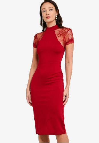 ZALORA OCCASION red Lace Sleeve Bodycon Dress B77BEAA3BFDF01GS_1