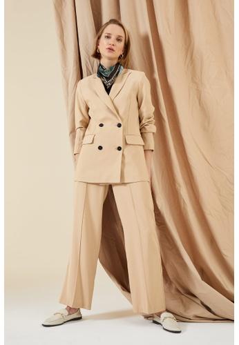DeFacto brown High Waist Viscose Trousers D0C6FAA09B60B0GS_1
