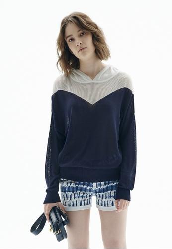 iROO blue Contrast Knitted Hoodie 57090AAE7434B8GS_1
