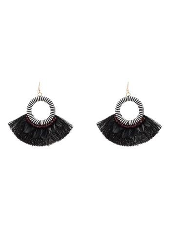 Red's Revenge black Tropical O-Ring Fringe Statement Earrings EB05AACBF0215DGS_1