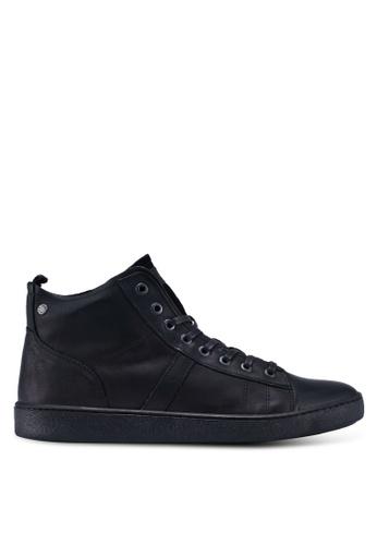 Jack & Jones black Duncan Leather Anthracite Sneakers 7F10ESHF3CE9E5GS_1
