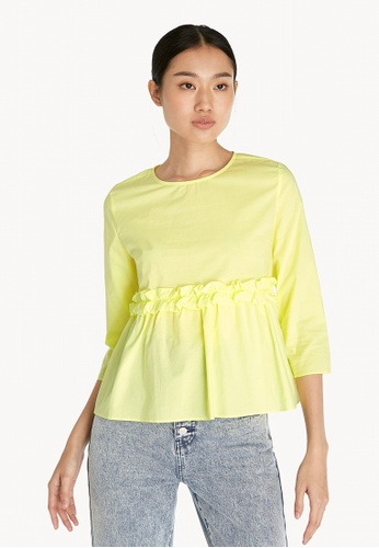 Pomelo yellow Long Sleeve Frill Top - Yellow D4A30AA956AAE5GS_1