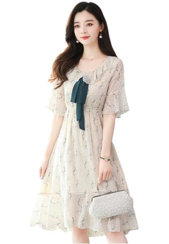 Halo beige Floral Printed Chiffon Dress E1A8AAA8DC8716GS_1